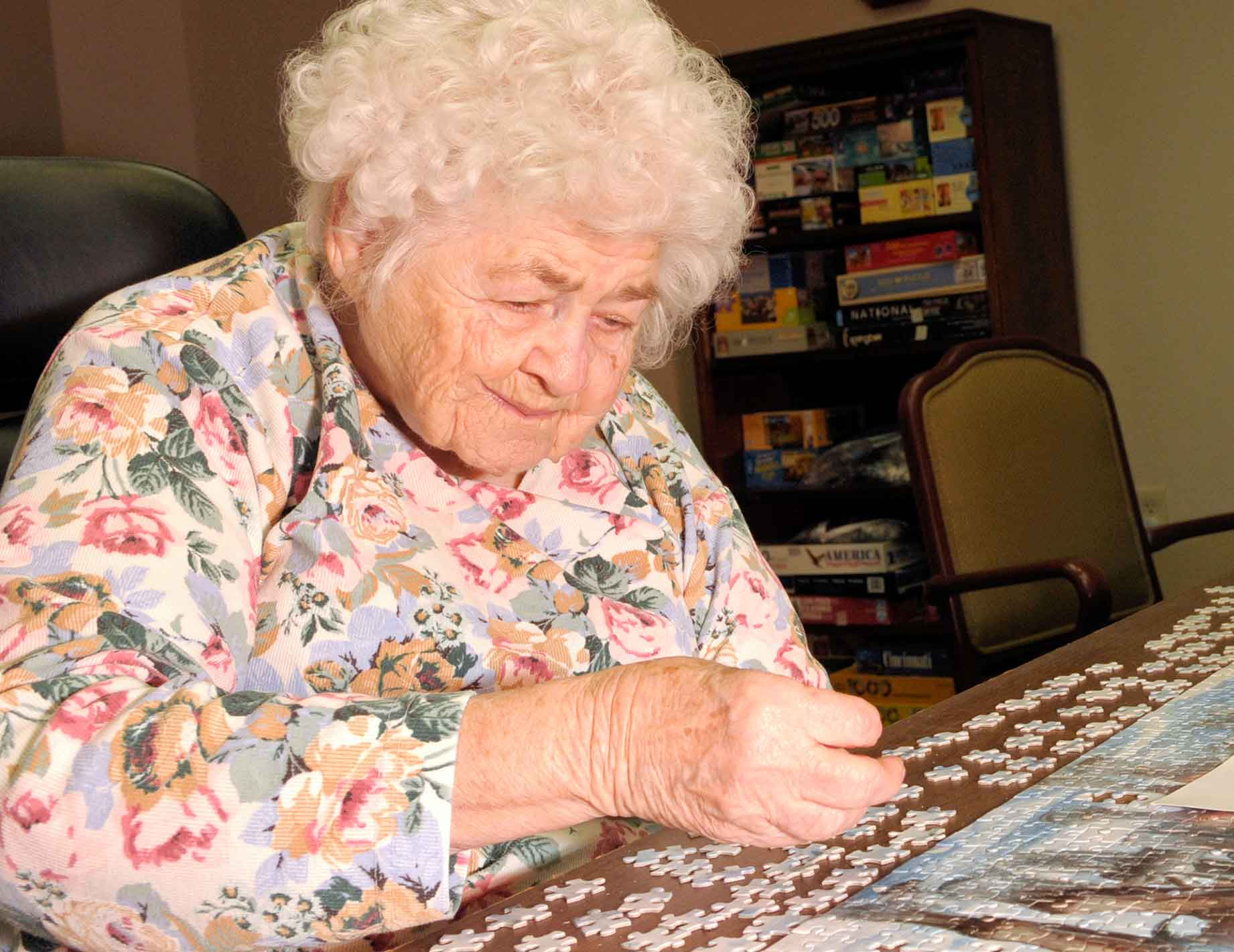 Elderly Lady Working on a Puzzle